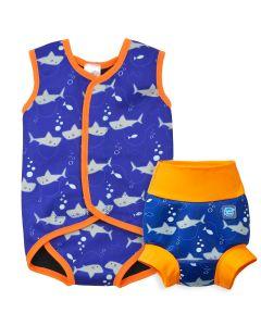 Shark Orange Happy Nappy and Baby Wrap Bundle